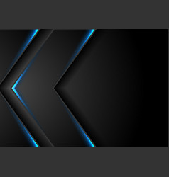 abstract black arrows with blue neon glowing light vector image
