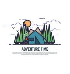 Adventure time camping vector