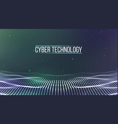 background 3d gridcyber technology ai tech wire vector image