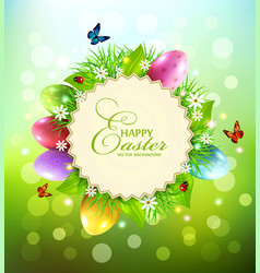Background for easter with a round card for text vector