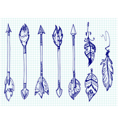 Ballpoint pen feathers and arrows set on notebook vector