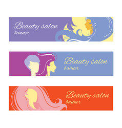 Banners with stylish woman silhouette vector