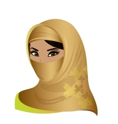 Beautiful face of arabic muslim woman vector