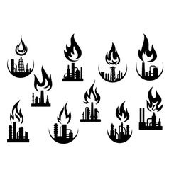 Black icons of industrial plants and factories vector