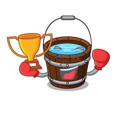 Boxing winner wooden bucket mascot cartoon vector