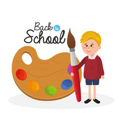 boy student with palette and paintbrush supplies vector image