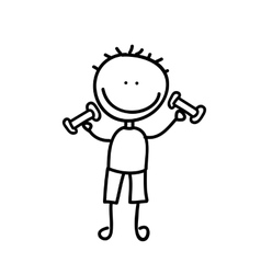 boy with weight drawing isolated icon design vector image