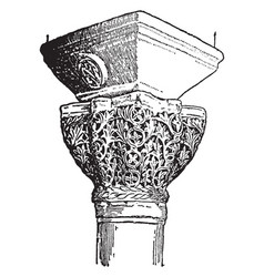 Byzantine capitals shaft vintage engraving vector
