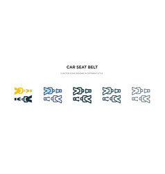 car seat belt icon in different style two vector image