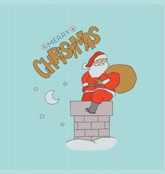 card santa claus sitting chimney with bag vector image