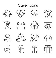 care kindness generous icon set in thin line style vector image