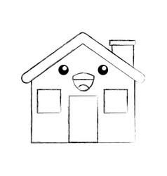 Cartoon cabin house chimney comic vector