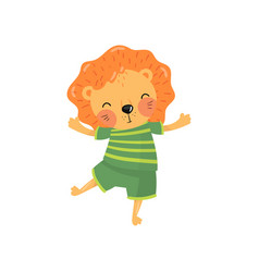 cartoon character of baby lion in green striped t vector image