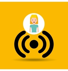 Cartoon girl wireless wifi design vector