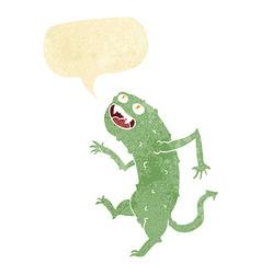 Cartoon monster with speech bubble vector