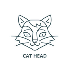 cat head line icon cat head outline sign vector image