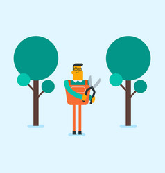 Caucasian white farmer cutting tree with scissors vector