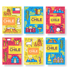 Chile brochure cards thin line set country vector