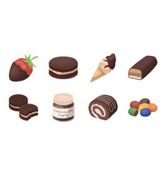 Chocolate dessert icons in set collection for vector