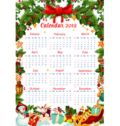 christmas holiday 2018 calendar template vector image