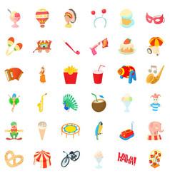 Clown icons set cartoon style vector