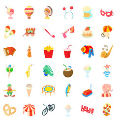 clown icons set cartoon style vector image