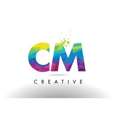 Cm c m colorful letter origami triangles design vector