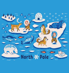 Collection of polar animals eskimos and vector