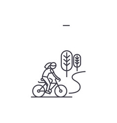 Countryside bike ride line icon sign vector