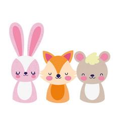 cute animals little bear rabbit and fox cartoon vector image