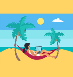 Distant worker laptop freelancer woman hammock vector