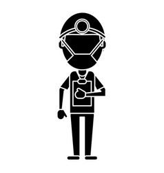 Doctor professional surgery mask hat clipboard vector