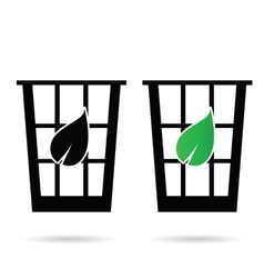 Eco basket garbage icon vector