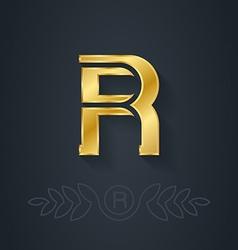 elegant gold font Letter R Template for company vector image
