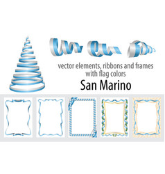 elements ribbons and frames with flag colors san vector image