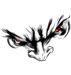 Face demon with angry red eyes vector
