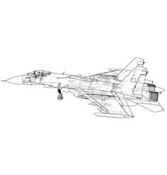 fighter jet wireframe concept blue purple vector image
