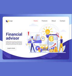 Financial advisor landing page template vector