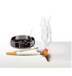 fire cigarettes are not extinguished vector image