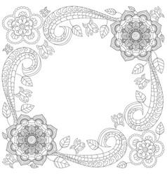 Flower frame coloring book vector