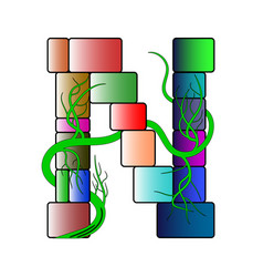 Font in a multicolored cubic style letter n of vector