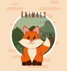 fox cute animal card vector image