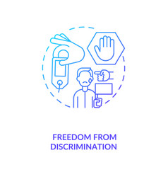 Freedom from discrimination blue gradient concept vector