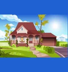 Front yard suburban house vector