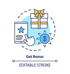 Get bonus concept icon gifts prizes idea thin vector
