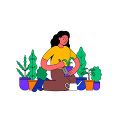 girl planting flowers and plants in pot vector image