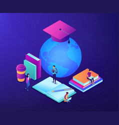 global online education isometric 3d concept vector image