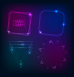 gold light frames and elements magic shape vector image