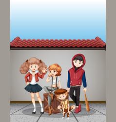 Group of teenagers scene vector