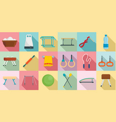 gymnastics equipment icons set flat style vector image